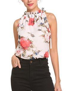 d4203aa0367e6b Mofavor Womens Summer Chiffon Sleeveless Blouse Ruffle Halter Floral Tank  Tops