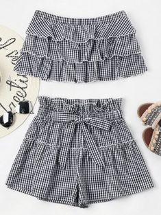 Tiered Gingham Shorts Set