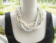 Pearl Statement Necklace, Bridal Necklace, Chunky Pearl Necklace