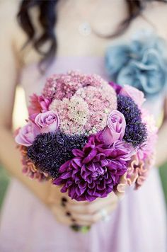 Featured Photographer: Ashley Rose Photography; Breathtaking purple wedding bouquet with multiple flower types