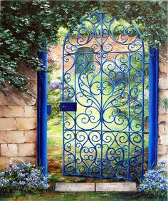 Marie-Claire Houmeau La grille bleue Garden Entrance, Garden Doors, Entrance Gates, Metal Gates, Wrought Iron Fences, Gate Design, Door Design, Garden Gates And Fencing, Bamboo Trellis