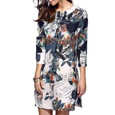 27.17$  Buy now - http://din0g.justgood.pw/go.php?t=189125901 - Classical Beauty Print One Button Dress 27.17$