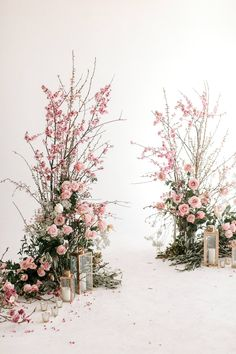 Wedding ceremony flowers in pink. Perfect for a spring wedding, free standing fliwer displays with cherry blossom and candles Wedding Ceremony Flowers, Ceremony Arch, Floral Wedding, Purple Wedding, Backdrop Decorations, Backdrops, Wedding Decorations, Pink Backdrop, Church Decorations