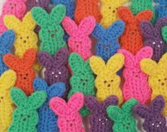 SIX crocheted bunnies, 6 different colors. Little  crocheted bunnies for your Easter fun. Easter basket.