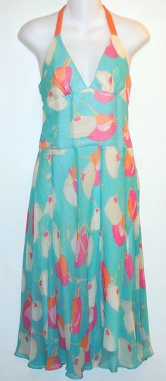 BCBGMAXAZRIA Halter Silk Chiffon Dress. Free shipping and guaranteed authenticity on BCBGMAXAZRIA Halter Silk Chiffon DressLovely halter dress from BCBG in turquoise, pink a...