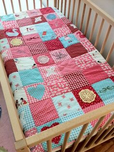 patchwork, applique and embroidery (crib Sarah Jane fabric) ... by ivydesigns, via Flickr