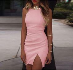 Bodycon Scoop Spilt Pure Color Tank Dress - Meet Yours Fashion - 5