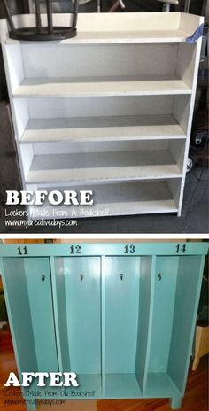 Upcycle A Bookshelf Into Locker Storage Or Cubbies For Your Family! Awesome furniture redo.