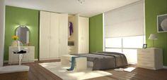 Wunderschönes Schlafzimmer in Grün! Helle und freundliche Schlafzimmer-Möbel für gemütliches Ambiente!