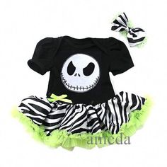 Halloween Baby Nightmare Before Christmas Jack Zebra Bodysuit Tutu Romper in Dresses Baby Dress Clothes, Fabric Tutu, Baby Halloween, Nightmare Before Christmas, Minnie Mouse, Disney Characters, Fictional Characters, Bodysuit, Teddy Bear