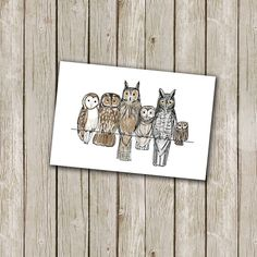 owls illustration art print 6x4in by blue eggs and tea | notonthehighstreet.com