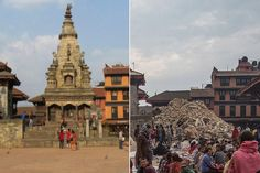 The earthquake that struck Nepal on April 25 flattened sections of Katmandu's historic center, where many structures were made with bricks.