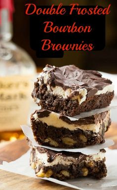 With a quarter cup of bourbon drizzled on top of the cooked brownies and two layers of frosting, these Double Frosted Bourbon Brownies mean business. My Favorite Food, Favorite Recipes, Cookie Recipes, Dessert Recipes, Brownie Frosting, Southern Kitchens, Vintage Cookies, Brownie Bar, Special Recipes