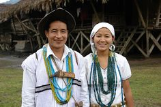 A Galo couple in traditional attire.   The Galos is one of the most populous tribe of Arunachal Pradesh. Normally, they practice monogamy but polygamy is also practiced by rich and affluent people as a symbol of one's prosperity and prestige. Galos used to practice shifting cultivation since olden days but now prefer wet rice and terrace cultivation. Children learn Galo as a first language, although most are also bilingual.