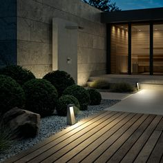 LED garden and pathway luminaire for the private sector · BEGA Modern Landscaping, Backyard Landscaping, Landscape Lighting, Outdoor Lighting, Dream Home Design, House Design, Garden Entrance, Exterior Design, Landscape Design