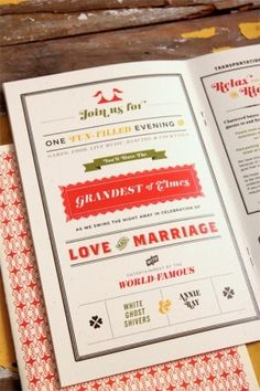 Carnival Wedding programs