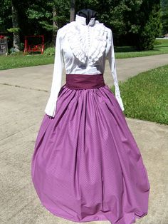 Colonial,Civil War,Victorian, Long SKIRT for camp dress one size fit all Lavender and Plum print vintage design with Plum or black sash by civilwarlady on Etsy