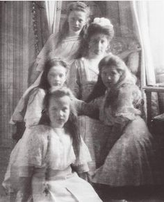 Empress Alexandra Feodorovna of Russia with her girls in the Mauve Boudoir of the Alexander Palace,Tsarskoe Selo in