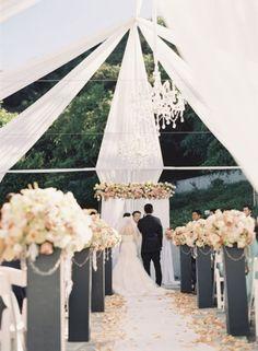 Stunning Draped Fabric. #wedding #decor