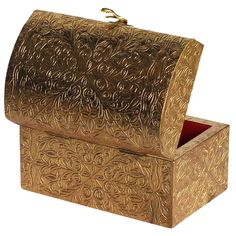 Bulk Wholesale Handmade Wooden Jewelry Box / Trinket Box with a Metal Brass Sheet – Crafted with Red Velvet Cloth and Metal Chain Inside – Decorative Storage / Keepsake Boxes