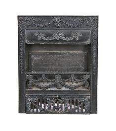 c. 1890-1900 antique american victorian era black enameled ornamental cast iron residential gas burner fireplace grate - Antique Fireplace Mantels & Inserts - Architectural - Products