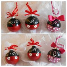 Mickey and Minnie Mouse ornaments