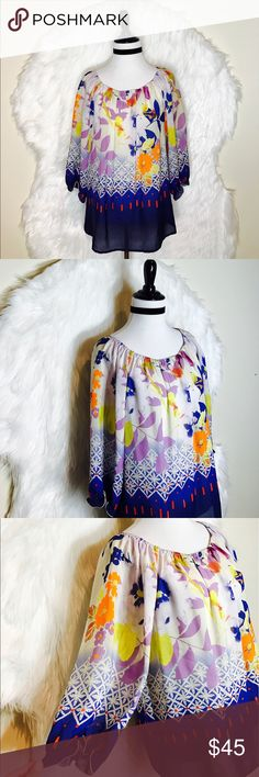 "Anthropologie Fei Peasant Silk Top Gorgeous Flowy Vibrant Colors in this Boho Chic Peasant Blouse. Silk is semi-sheer with 3 quarter length sleeves. Cobalt blue, orchid, light yellow, orange & navy complete this stunning abstract print. Laid flat across @ bust: 20"", length: 25"". NWOT Anthropologie Tops Blouses"