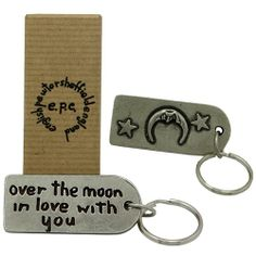 Over the Moon Pewter Keyring :: Lovingly handmade in the UK by expert craftsman - Fast UK Shipment. Personalized Valentine's Day Gifts, Engraved Gifts, Unique Valentines Day Gifts, Over The Moon, Pewter, Gifts For Women, Best Gifts, Search, Shop