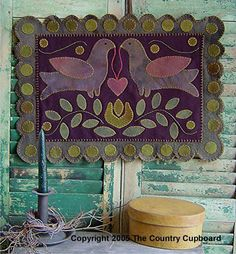 The Country Cupboard Primitive Folk Art Birds Penny Rug Wool Applique Pattern