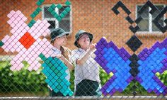 """Art co-ordinator Andrea Hosking said students had been inspired by """"cup art"""", a form of street art which uses painted polystyrene cups pushed into chain link fences. Description from au.news.yahoo.com. I searched for this on bing.com/images"""