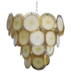 Large Mid-Century Modern Murano Glass Disc Chandelier or Pendant by Vistosi | 1stdibs.com