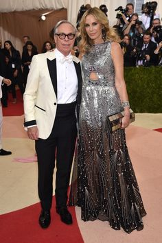 "Tommy Hilfiger (L) and Dee Ocleppo attend the ""Manus x Machina: Fashion In An Age Of Technology"" Costume Institute Gala at Metropolitan Museum of Art on May 2, 2016 in New York City."