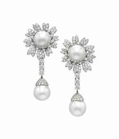 A PAIR OF CULTURED PEARL AND DIAMOND EAR PENDANTS, BY DAVID WEBB