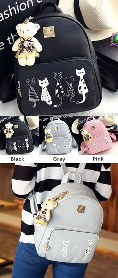 Cute Cartoon Cats Printing PU Backpack Gift Shoulder Bag Leisure Kitten School Zippered Backpack for big sale ! #school #bag #kitten #leisure #kitty #backpack #rucksack #cat