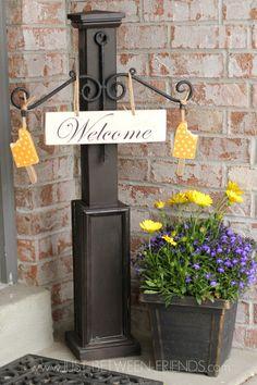 Seasonal Welcome Post Update & DIY \u2013 Front Door Sign Post   Front door signs Pezcame.Com
