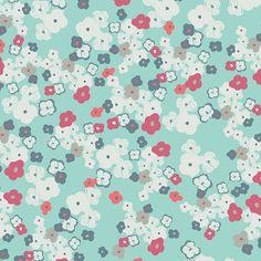 Tela turquesa con flores pequeñas coral y blancas diseño de AGF Studio