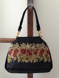 Vintage Bienen Davis Handbag Velvet Floral on Black Fabric