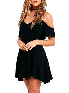 Sidefeel Women Ruffled Cold Shoulder Backless Skater Dress Small Black