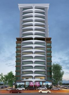 Kalender Tower Commercial Architecture, Facade Architecture, Residential Architecture, Amazing Architecture, House Arch Design, Bungalow House Design, Facade Design, Modern Exterior House Designs, Architectural House Plans
