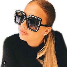 144e7fd57d081 YABINA Womens Fashion Imitation Diamonds Cat Ear Square Classic Vintage  Sunglasses  glasses  sunglasses