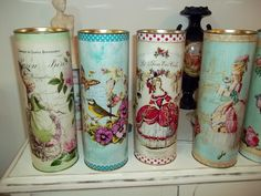 Shabby Chic ♥ Latas Decorative Blanco: Altered Pringle Cans Decoupage Tins, Decoupage Vintage, Recycled Crafts, Diy And Crafts, Paper Crafts, Pringles Can, Recycle Cans, Altered Tins, Bottles And Jars