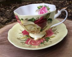 Vintage 1950's Gold tea cup and saucer Queen by JoyJoeTreasures