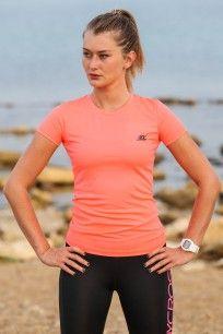 BodyCross Paz Vert Fluo - T-shirt running femme. - BodyCross Store FR