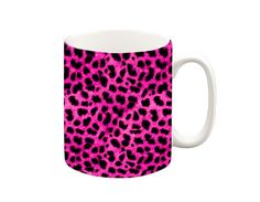 Pink Leopard Mug The image wraps right around the mug. A ceramic Microwave and dishwasher safe :) All our mugs are printed in our design! Funny Mugs, Funny Gifts, Tea Mugs, Coffee Mugs, Pink Leopard, Make And Sell, Microwave, Dishwasher, Christmas Gifts