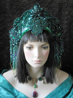 Emerald Green  Wizard of OZ, flapper, Gatsby, Art Nouveau, Art Deco Headdress Headpiece crown     https://www.etsy.com/uk/shop/MIMSYCROWNS?ref=listing-shop-header-item-count