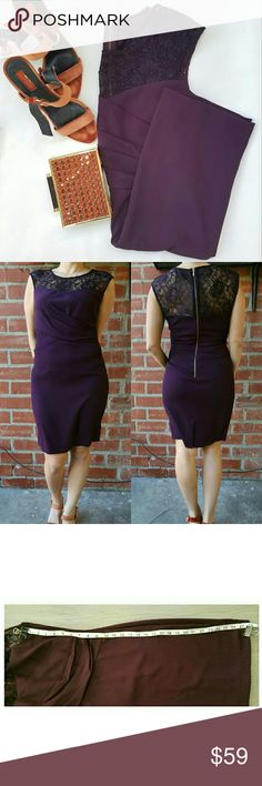 """CALVIN KLEIN dress Lightly used once for few hours in great condition  Lace illusion yoke. Color is deep wine 28"""" lenght Calvin Klein Dresses Midi"""