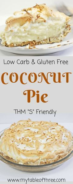 Low Carb and Gluten Free Coconut Cream Pie is a wonderful pie to enjoy without spiking your blood sugar. It is sugar-free and Trim Healthy Mama Sugar Free Desserts, Gluten Free Desserts, Healthy Desserts, Gluten Free Recipes, Low Carb Recipes, Dessert Recipes, Irish Recipes, Sugar Free Cakes, Healthy Dessert Recipes