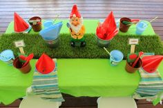 Gardening Themed Party Table for kids - heaps of great gardening party ideas, party food, party invitations, party decorations and recipes f...