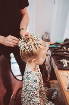 Gypsophila hair slides made by the Little Tin Shed for this beautiful young bridesmaid's hair! Little Tin Shed Weddings (Lemonade Pictures)