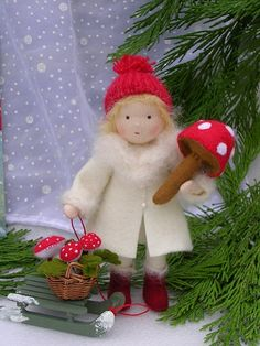 New Years use white snow girl from Suzi Xmas Crafts, Felt Crafts, Snow Girl, Postcard Art, Winter Magic, Waldorf Dolls, Fairy Dolls, Felt Dolls, Needle Felting